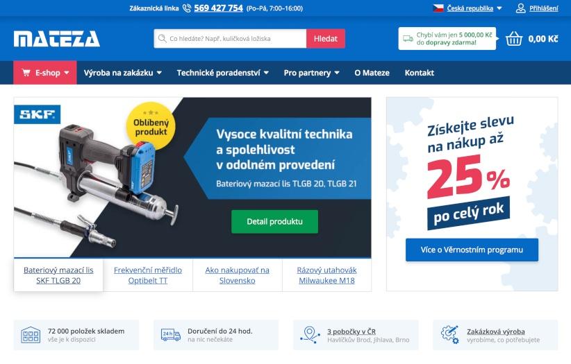 E‑shop pro jednoho znejvětších prodejců strojních součástek vČR
